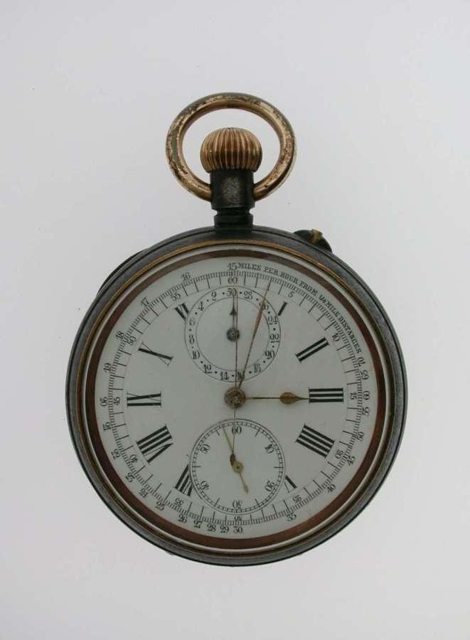 Gunmetal Chronograph Pocket Watch Swiss 1920
