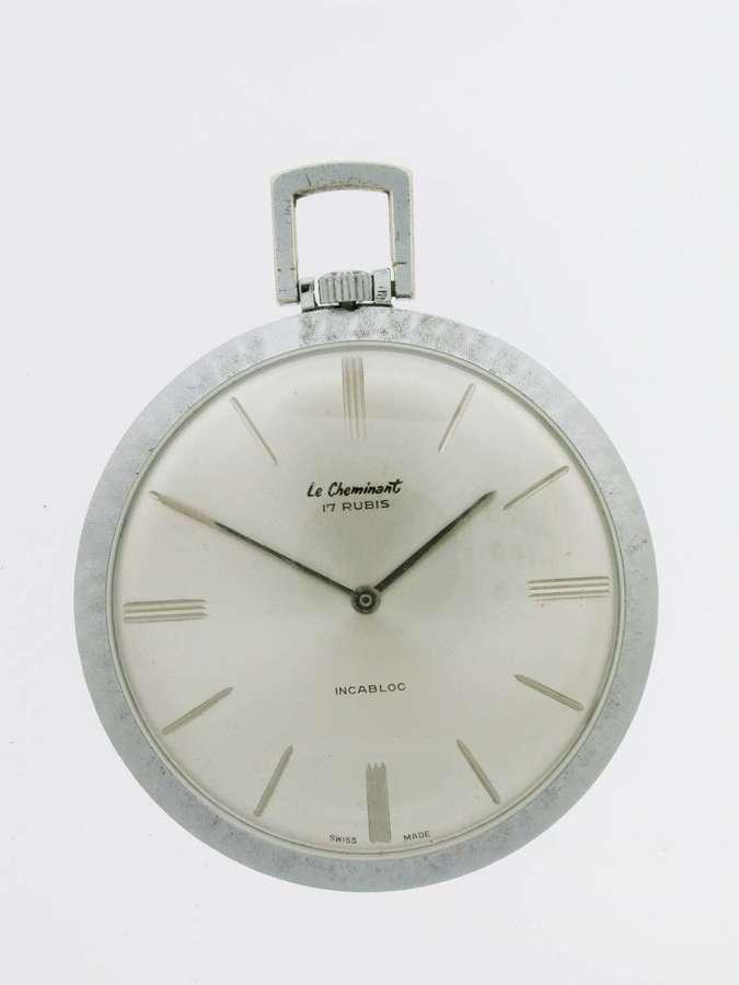 Steel Art Deco Le Cheminant Open Face Pocket Watch Swiss 1960