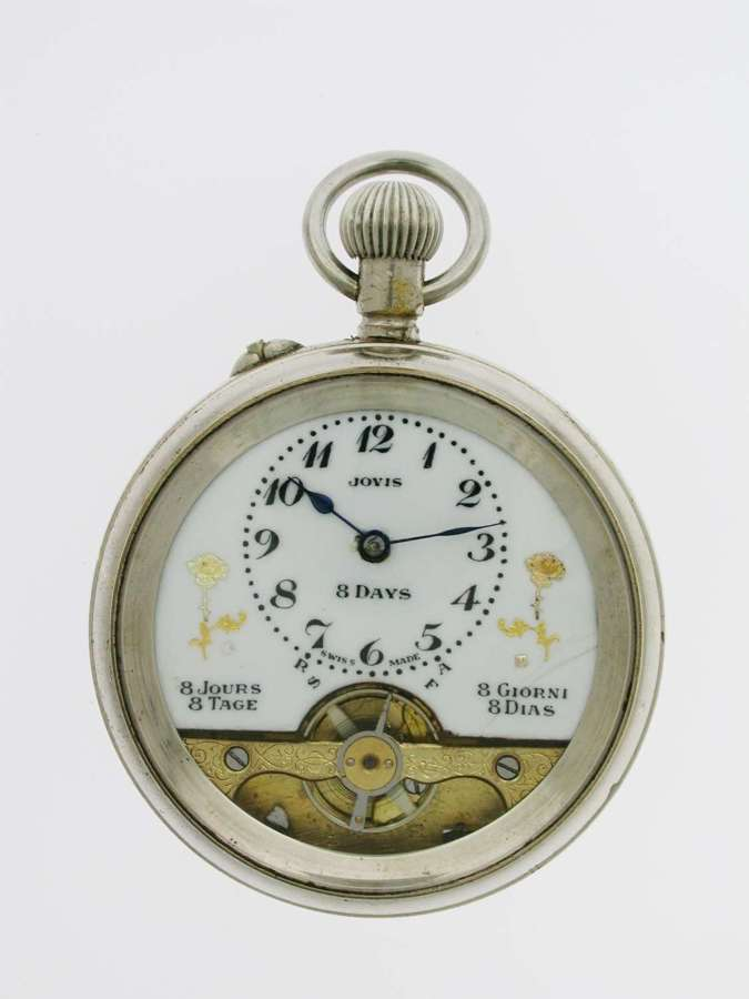 Jovis 8-day Steel Open Face Pocket Watch Swiss Made 1920