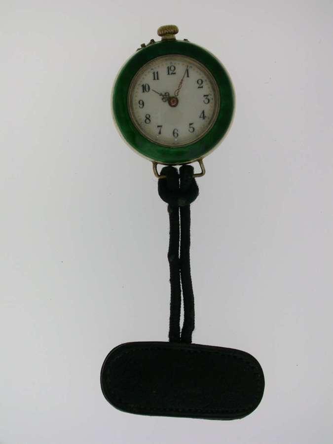 Silver & Green Enamel Pocket Watch Swiss 1900